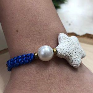Star Shape Lava Stone White  Handmade Bracelet